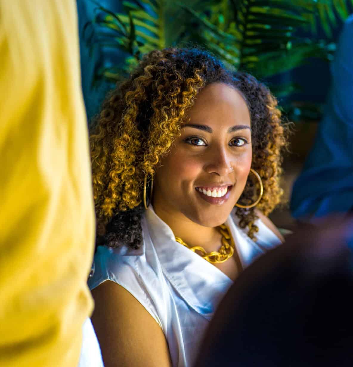 Woman smiling at camera