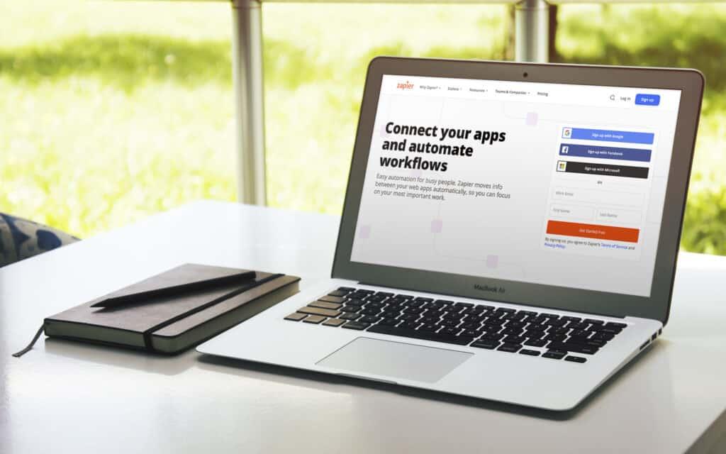 Zapier homepage on macbook.