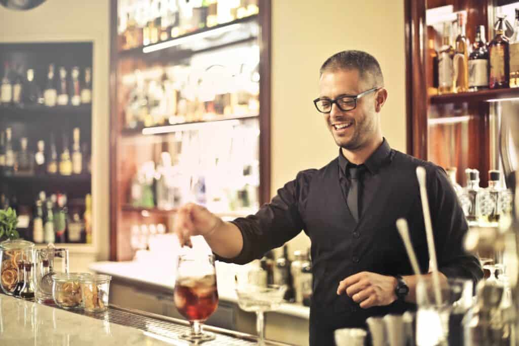 Happy bartender.