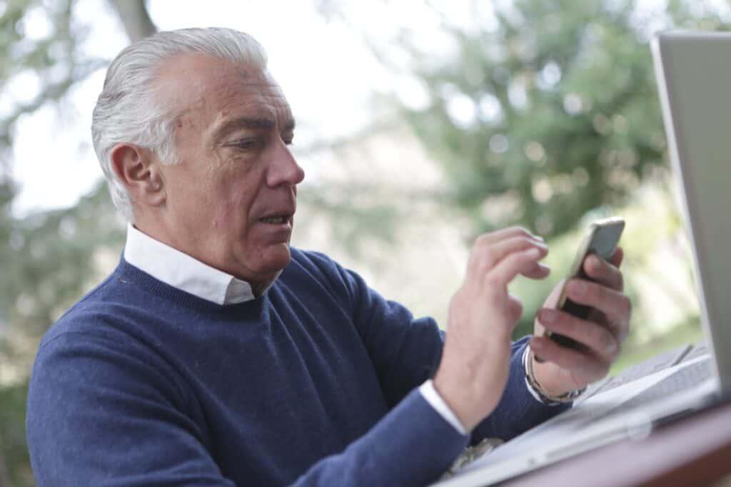 Older man using intranet app