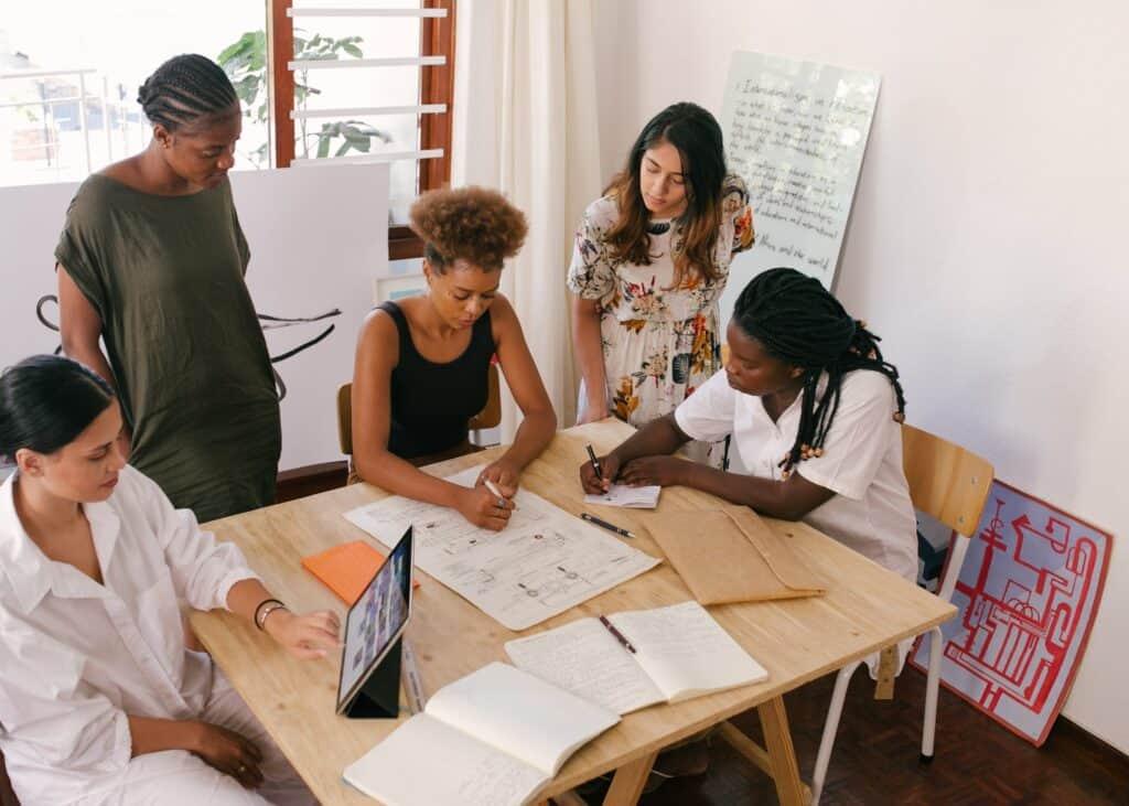 Team sharing ideas