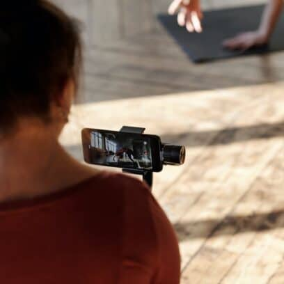 Girl filming with iPhone
