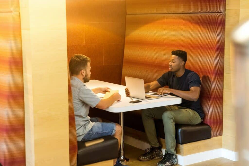 Young man having meeting.