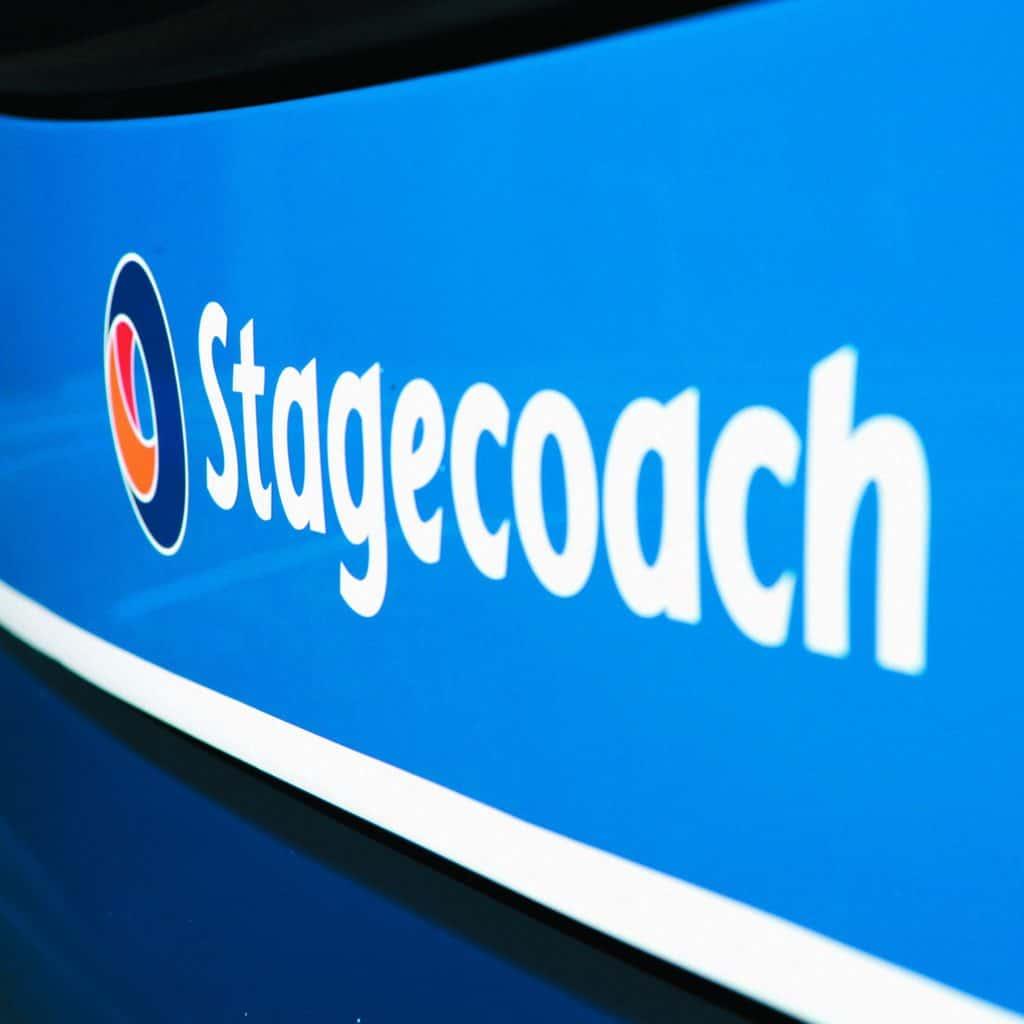 Internal communications professional Stagecoach logo on bus.