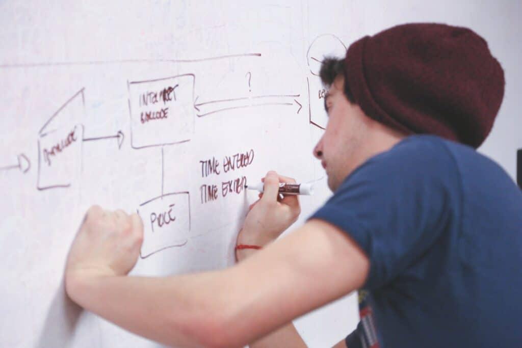 Man writing plan on whiteboard.