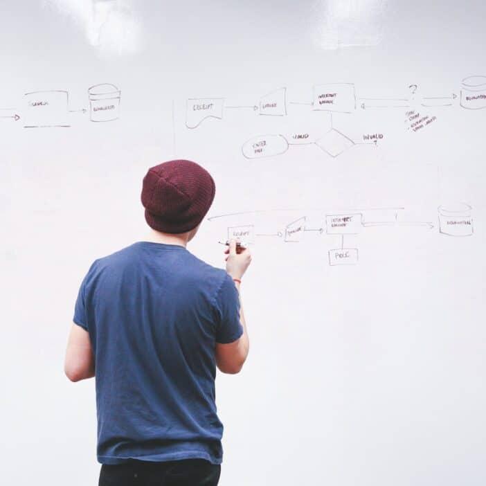 Man planning on whiteboard.