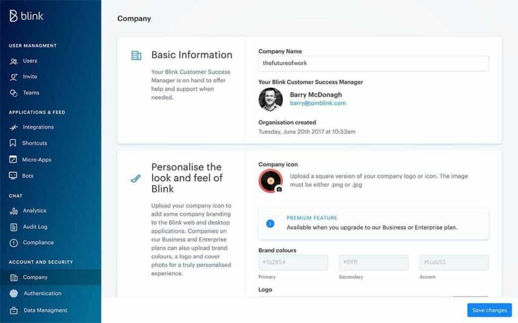 Blink intranet alternative user interface.