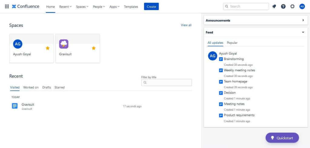 Confluence intranet software user interface/