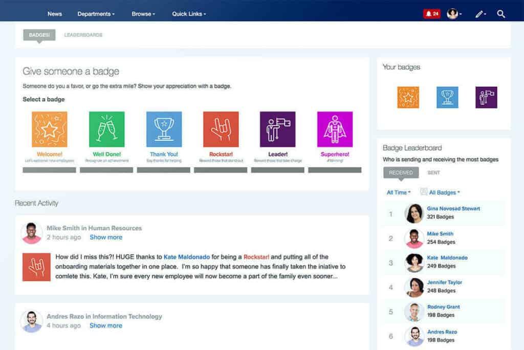 Jive intranet tool user interface.